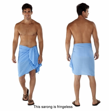 Solid Light Blue FRINGELESS Mens Sarong