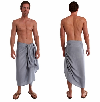 Solid Light Grey Mens Sarong FRINGELESS