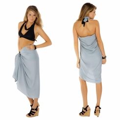 Solid Light Grey Sarong FRINGELESS