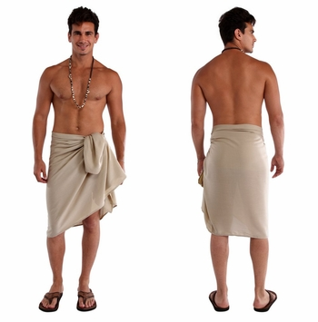 Solid Light Mocha Color Mens Sarong FRINGELESS