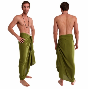 Solid Light Olive Green Mens Sarong FRINGELESS