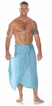 Solid Light Turquoise FRINGELESS Mens Sarong