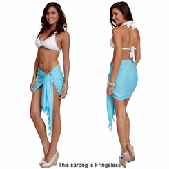 Solid Light Turquoise Half Sarong FRINGELESS