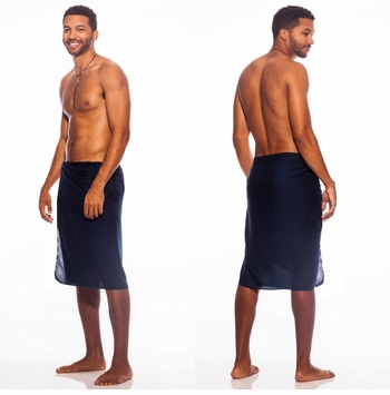 Solid Navy Blue FRINGELESS Mens Sarong