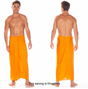 Solid Orange Mens Sarong FRINGELESS