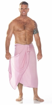 Solid Pink Mens Sarong FRINGELESS
