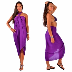 Solid Purple FRINGELESS Sarong