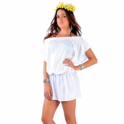 Solid White Cover-Up Short Dress
