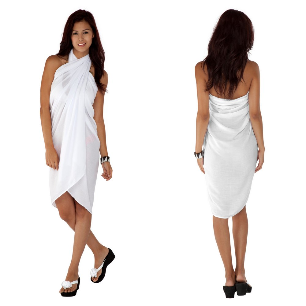 Solid White Sarong FRINGELESS