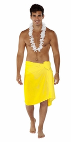 Solid Yellow FRINGELESS Mens Sarong