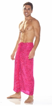 Spiral Abstract Mens Sarong in Hot Pink