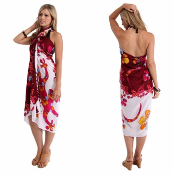 Split Color Gecko Sarong in Burgundy