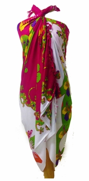 Split Color Gecko Sarong in Hot Pink