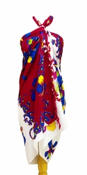 Split Color Gecko Sarong in Red