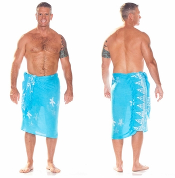 Starfish Mens Sarong in Turquoise