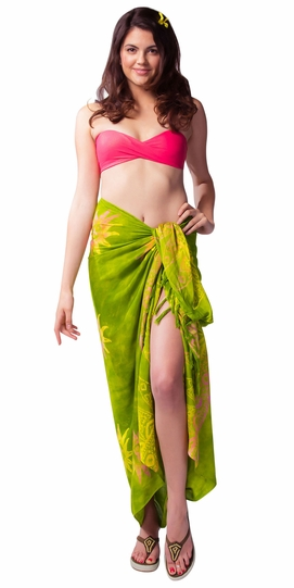 Sun Sarong in Green w/ Multicolor