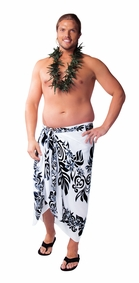 Tahitian Lei PLUS SIZE Mens Sarong in Black/White