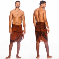 "Tattoo Mens Sarong ""Brown"""