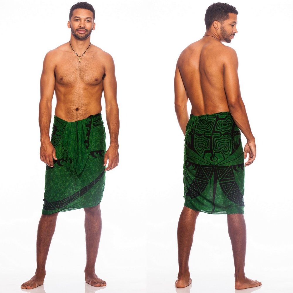 "Tattoo Mens Sarong ""Emerald Green"""