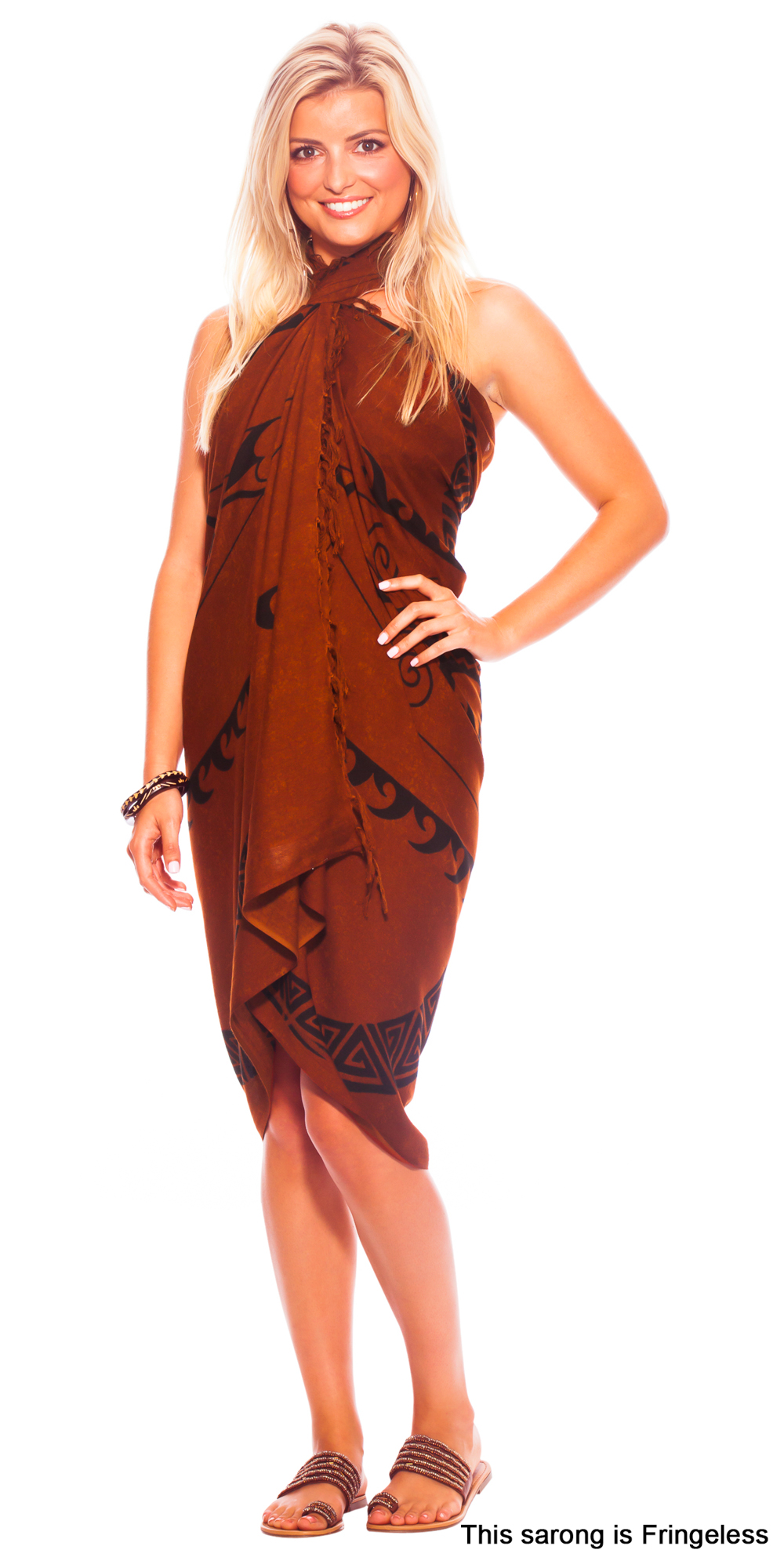 "Tattoo Sarong ""Tribal Batik"" Brown"