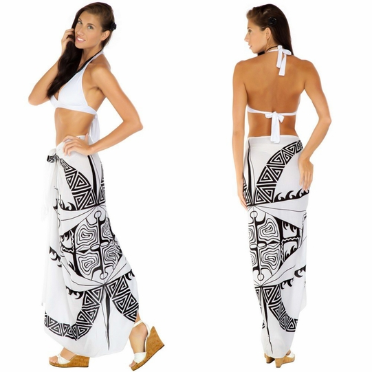 "Tattoo Sarong ""White / Black"""