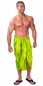 Tie Dye Mens Sarong in Lime Green