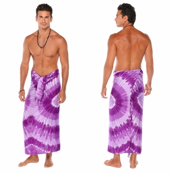 Tie Dye Mens Sarong in Tri Dye 2 in Purple Haze