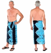 "Tie Dye Mens Sarong ""Jungle Baby Blue"""