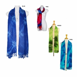 Tie Dye Motif Extra Wide Neck Scarf, Wrap or Shawl - in your choice of colors