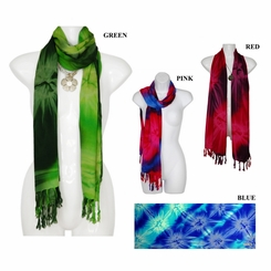 Tie Dye Motif Neck Scarf, Wrap or Shawl - in your choice of colors