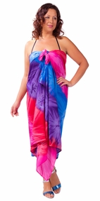 Tie Dye PLUS SIZE Sarong in Chakra Pink-Red-Purple-Blue