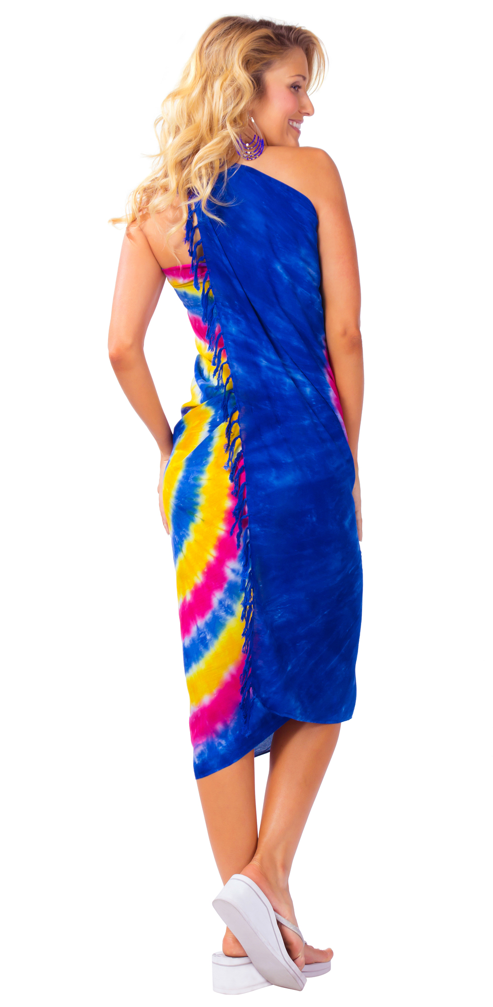 tie dye sarong in blues pinks and gold