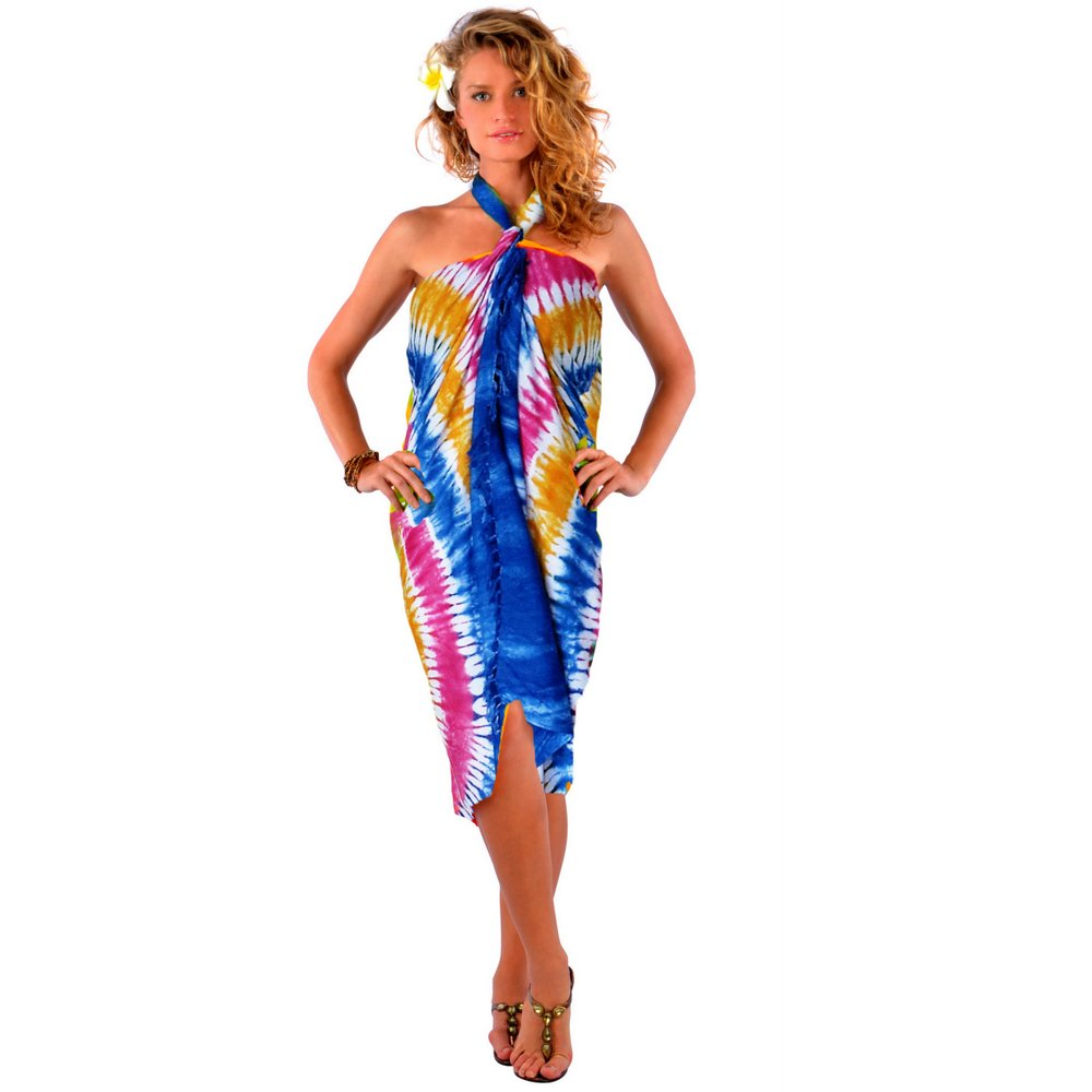 Tie Dye Sarong in Blues, Pinks and Gold