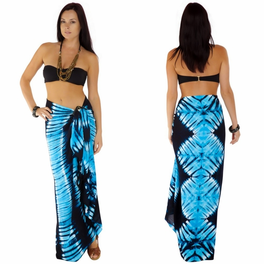 "Tie Dye Sarong ""Jungle Baby Blue"""