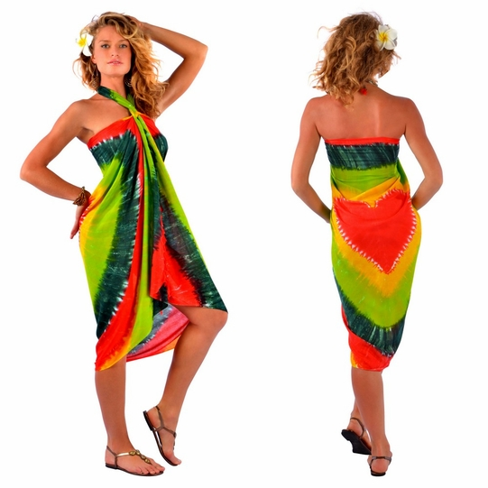 Tie Dye Sarong with Red Heart