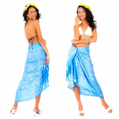Tiny Hibiscus Floral Sarong in Blue