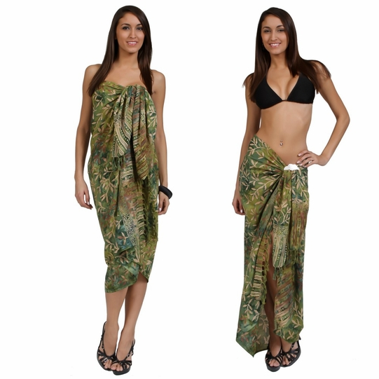 "Tiny Leaves Sarong ""Light Green / Tan"""
