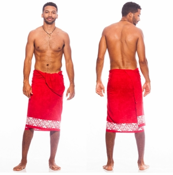 Top Quality Celtic Tribal Border Mens Sarong Red