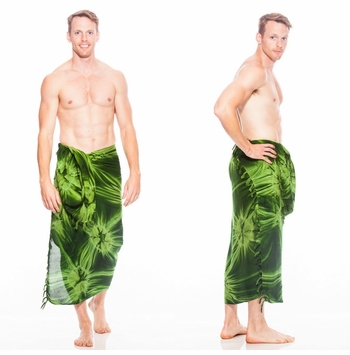 Top Quality Smoked Mens Sarong in Dark Green