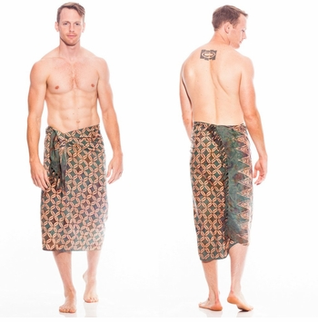 Traditional Batik Design Top Quality Mens Sarong in Green