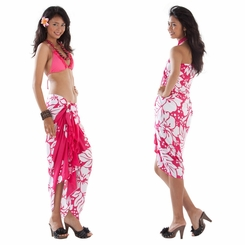 Triple Lei Sarong in Fuchsia/White