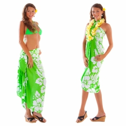 Triple Lei Sarong in Green/White