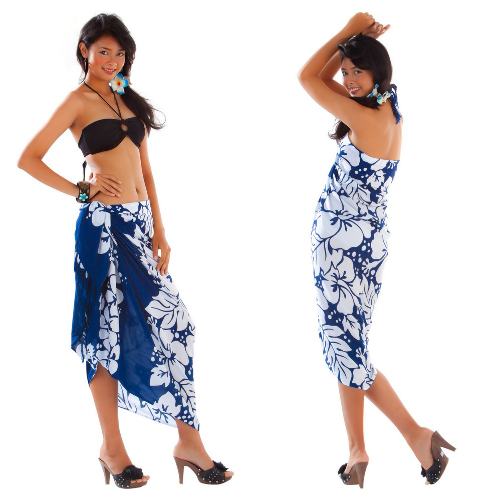 Triple Lei Sarong in Navy Blue/White