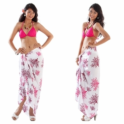 Tropical Coral Sarong in Fuchsia