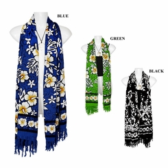 Tropical Hibiscus Floral Design Extra Wide Neck Scarf, Wrap or Shawl - in your choice of colors