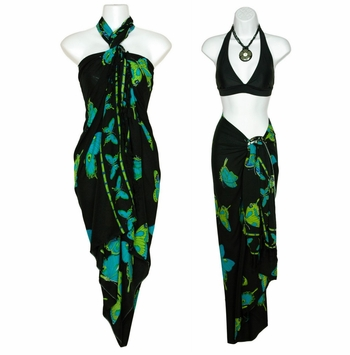 Turquoise and Black Butterfly Sarong 12