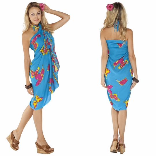 """Turquoise Butterfly Sarong """"BF 15"""""""