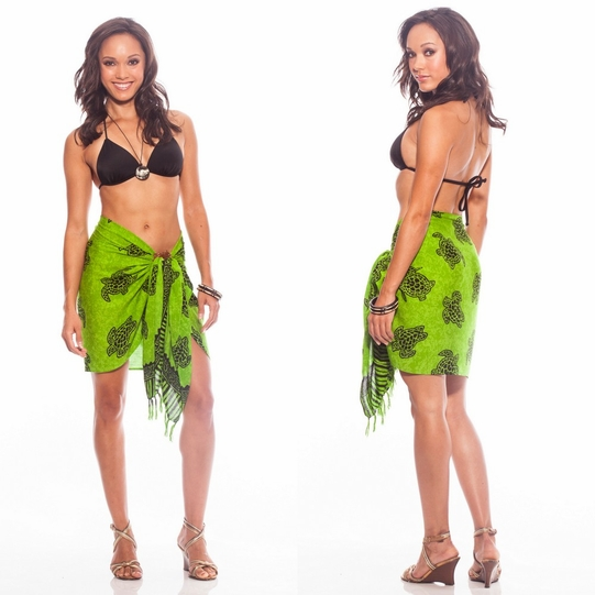 Turtles Half Sarong/Mini Sarong in Lime Green