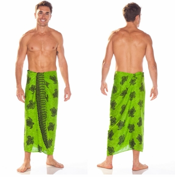 "Turtles Mens Sarong ""TU-18"" Lime Green"