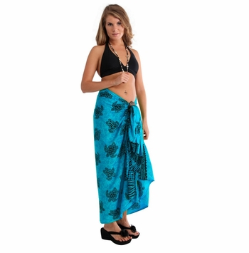 Turtles Sarong Turquoise/Black